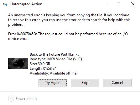 error 0x8007045d