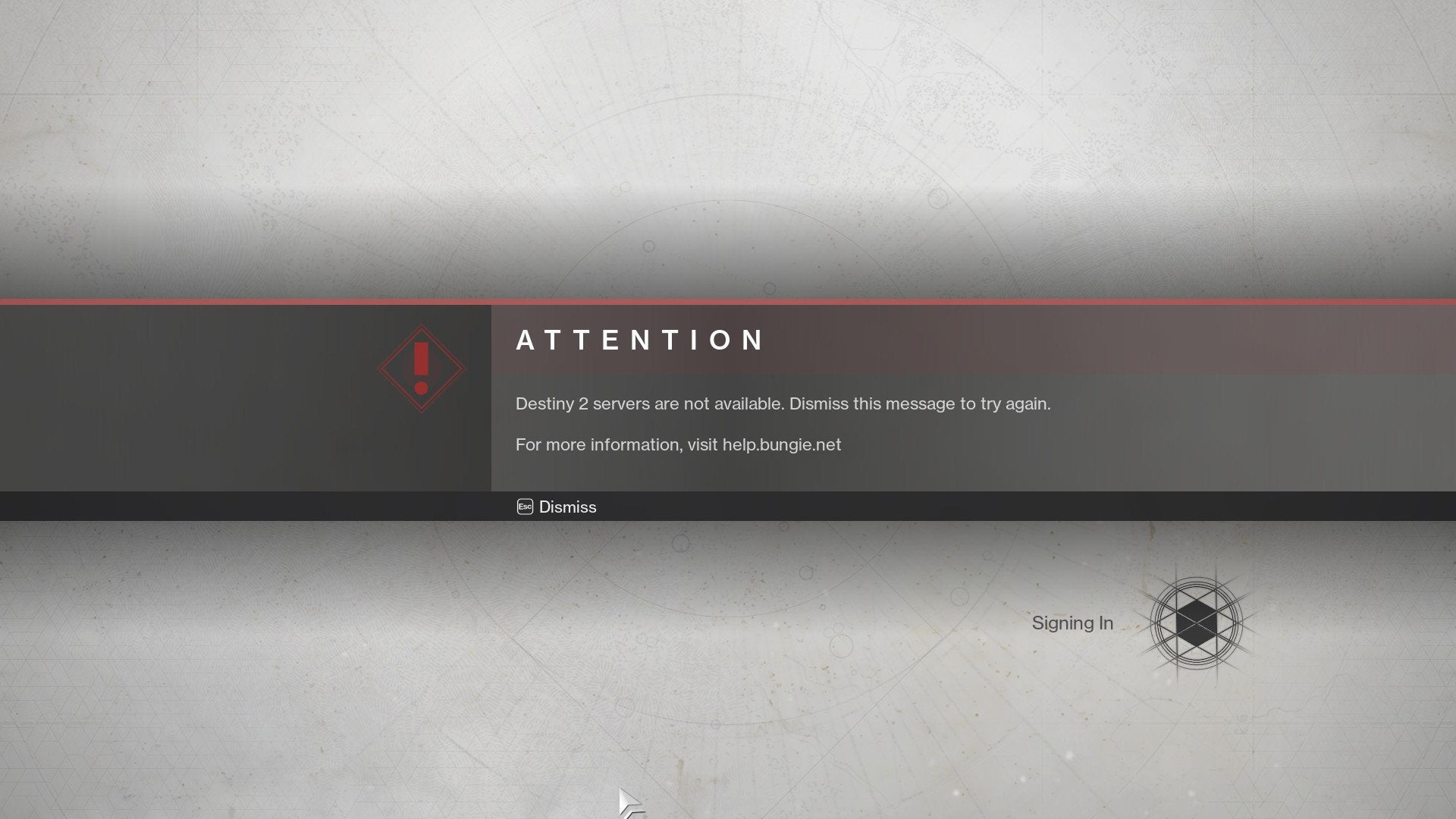 Destiny 2 Servers are not available