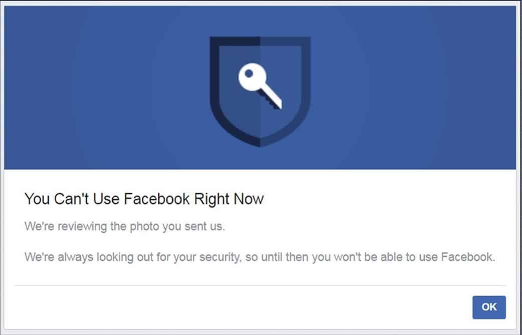 you can't use facebook right now we're currently reviewing your submission.