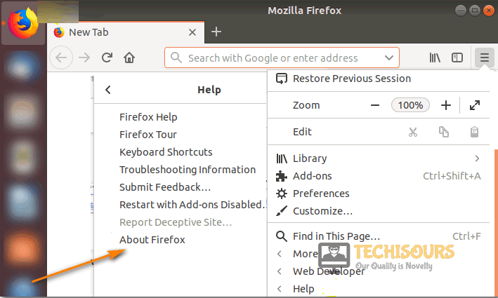 Click about firefox option