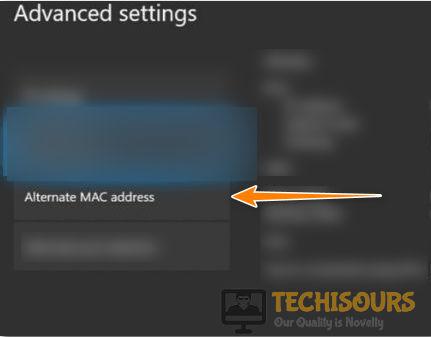 Select advanced mac address