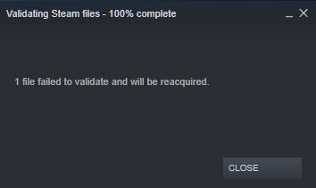 Steam 1 file failed to validate and will be reacquired