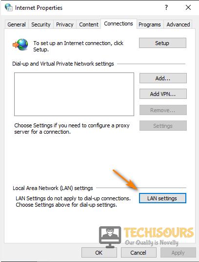 Choose LAN Settings to fix 0x800704cf error