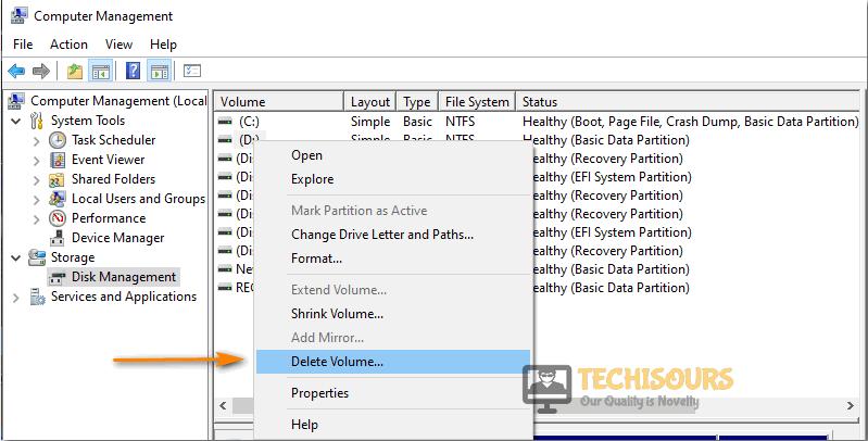 Choose Delete Volume option