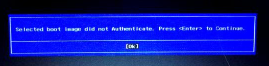 selected boot image did not authenticate