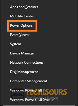 Choose Power Options