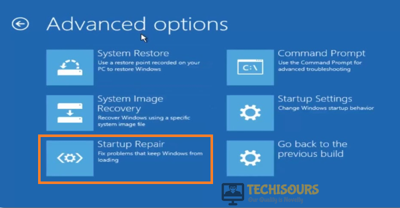 Choose Startup Repair Option to fix your pc ran into a problem and needs to restart issue