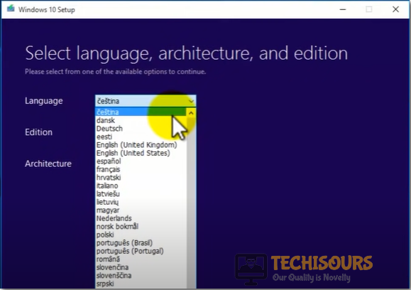 Select Language Option