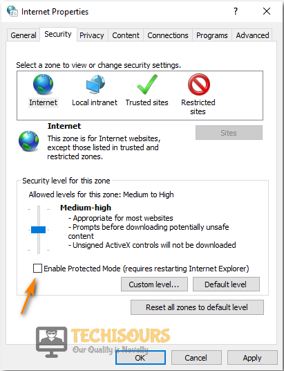 Disable Protected Mode