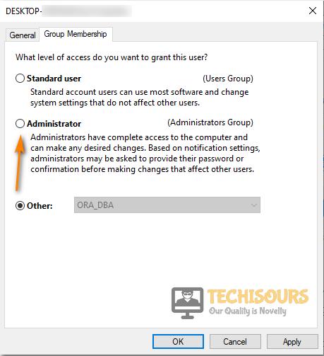 Select Administrator Option