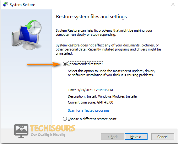 Select Recommended Restore Option