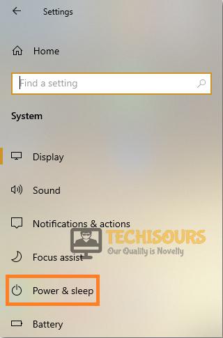 Select Power and sleep option