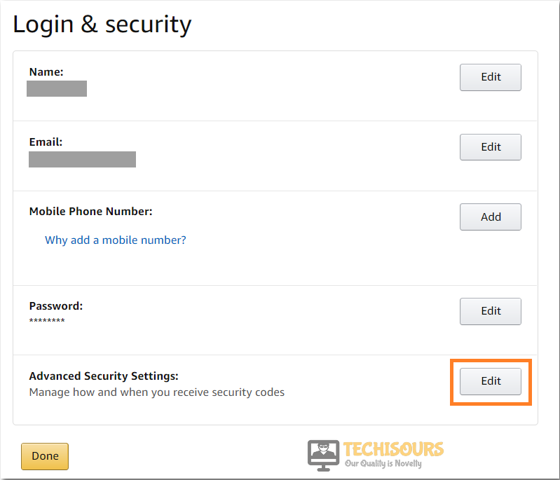 Choose advanced security options