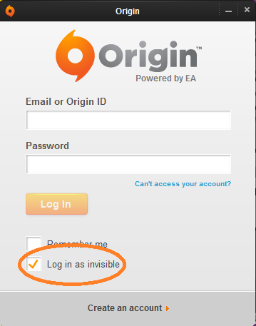 Log in as invisible