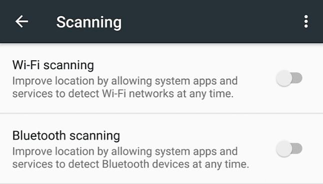 Turn OFF Bluetooth Scanning