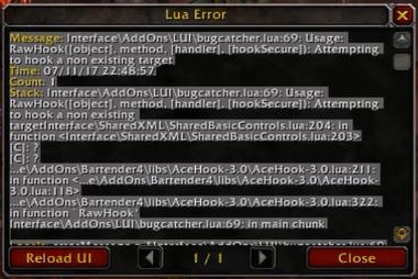 WoW Lua Error