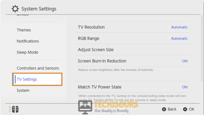 Adjust TV Settings to fix switch won't connect to tv issue