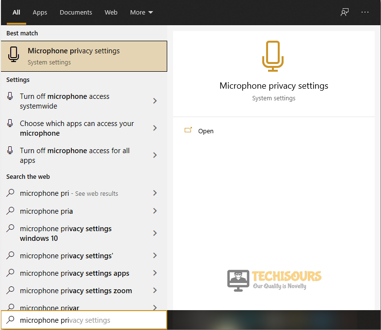 Type Microphone privacy settings