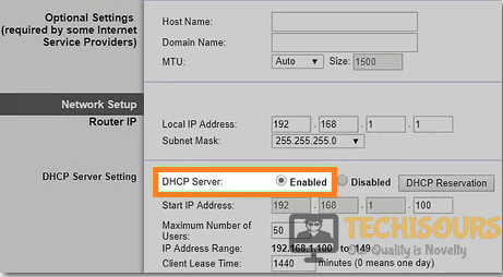 Enable DHCP