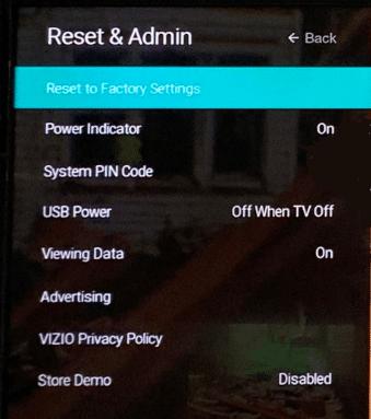 Reset Vizio TV
