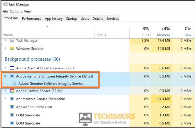 Find Adobe Genuine Service
