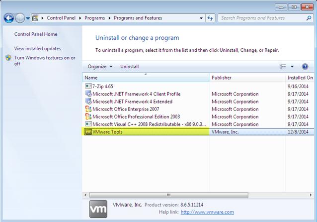 Uninstall Virtualization software