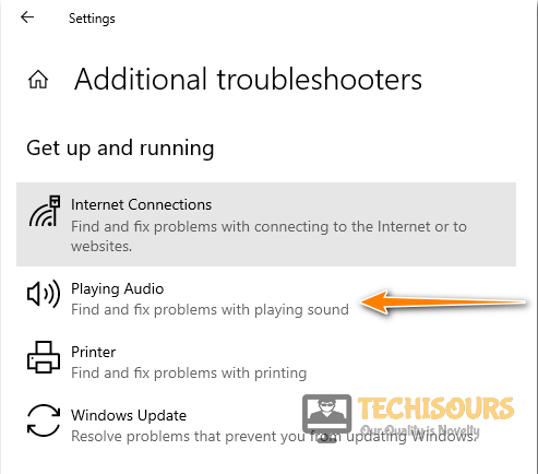 Choose the Playing audio option