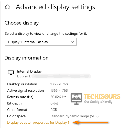 Choose the Display adapter properties option to fix input not supported issue