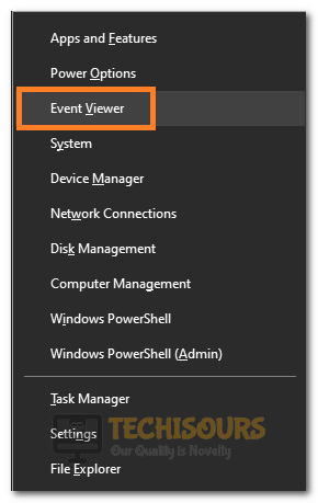 """Clicking on the """"Event Viewer"""" button"""