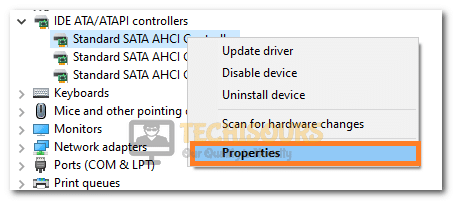 Clicking on the Properties option