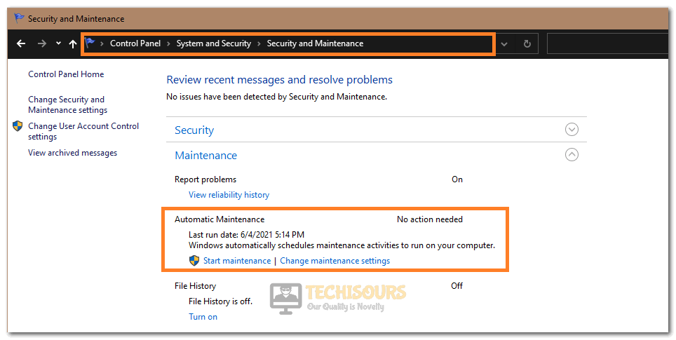 Selecting the Start Maintenance Button