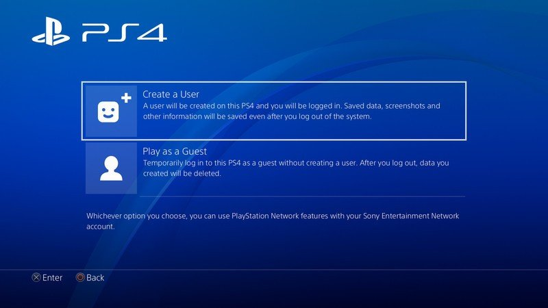 Create a new user on ps4
