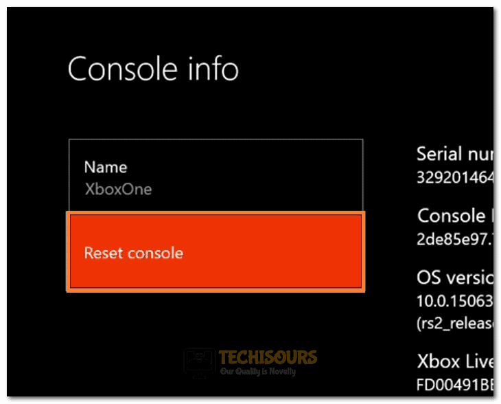 """Clicking on the """"Reset Console"""" button"""
