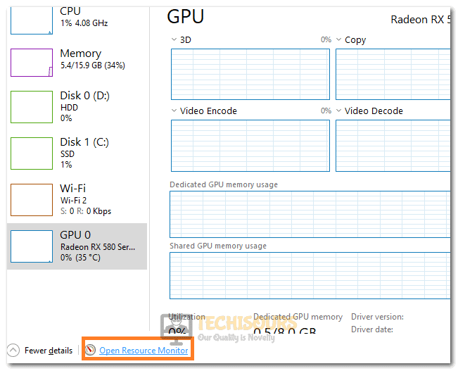 Selecting the Open Resource Monitor Option