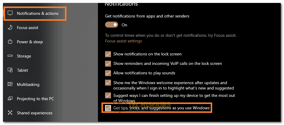 """Clicking on the """"Get Tips, Tricks, and Suggestions as you use Windows"""" toggle to turn it off"""