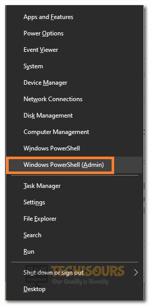 "Clicking on the ""Windows Powershell Admin"" option"