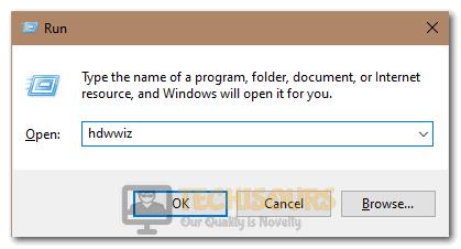 "Typing in the ""Hdwwiz"" in the Run prompt"