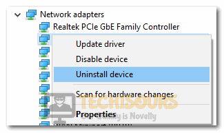 """Clicking on the """"Uninstall Device"""" option"""