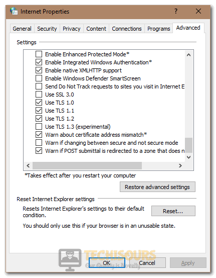 Unchecking the TLS option to fix Error Code 0x80131500