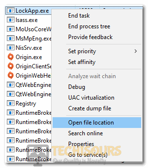 """Clicking on the """"Open File Location"""" option to open LockApp.exe application"""