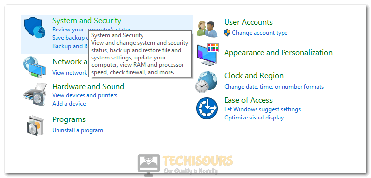 Clicking on System and Security option in Control Panel