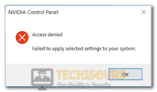 Nvidia Control Panel Access Denied Message