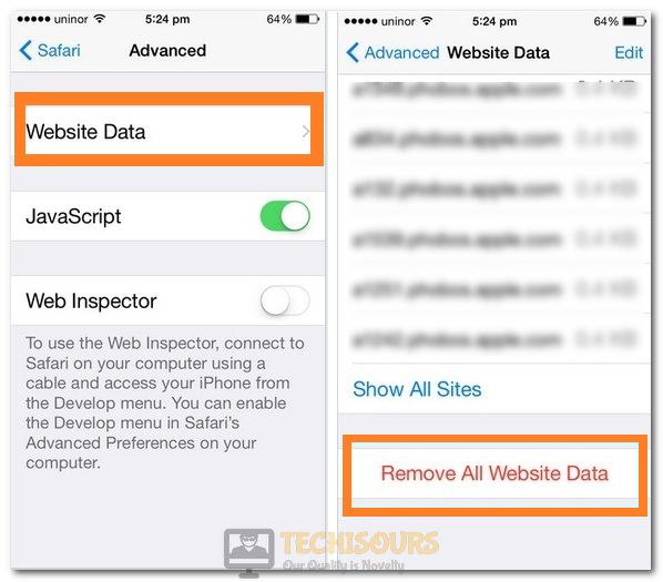 Selecting the Remove all Website Data option