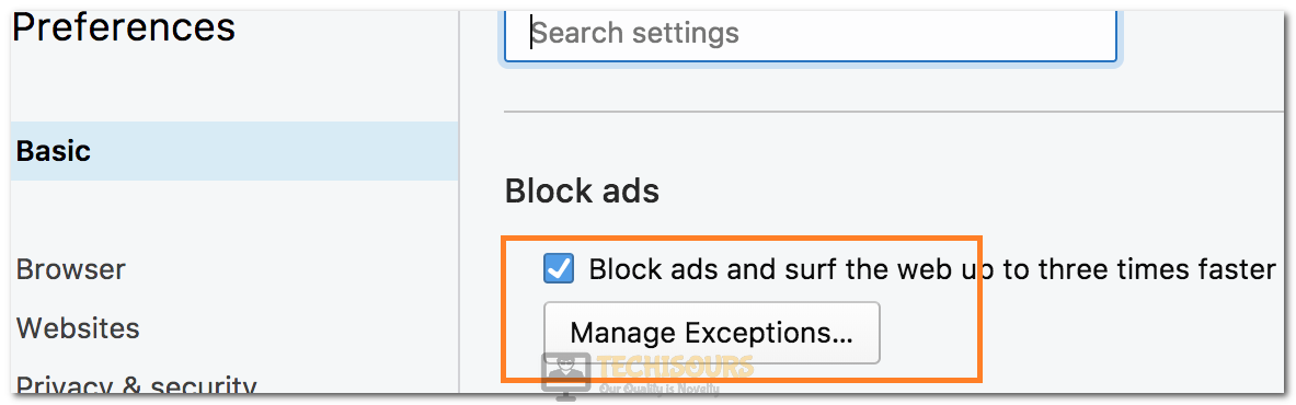 """Selecting the """"Block Ads"""" option to fix Crunchyroll Adblock not Working"""