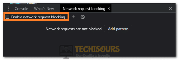 """Clicking on the """"Enable Network Request Blocking"""" option"""