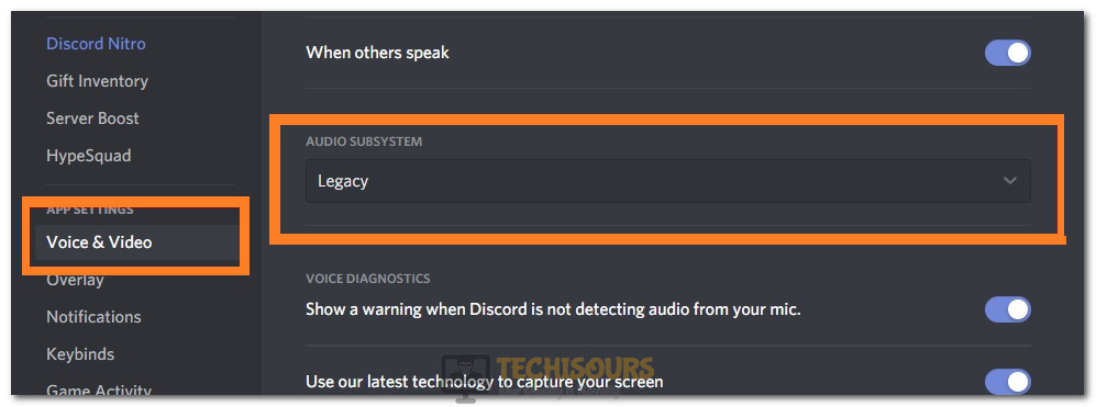 Switching the Discord Audio Subsystem to Legacy