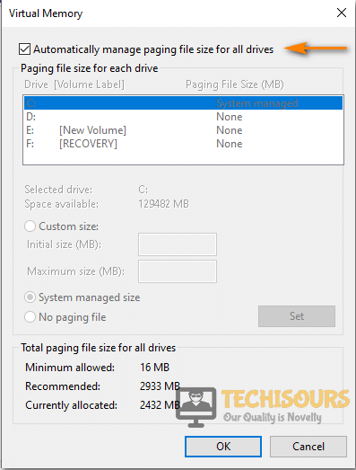 Checkmark Automatic Paging option to fix System and Compressed Memory High CPU Usage