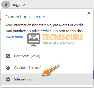 Clicking on Site Settings