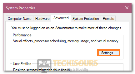 """Clicking on the """"Settings"""" option under the Performance option to fix BSOD ntoskrnl.exe"""