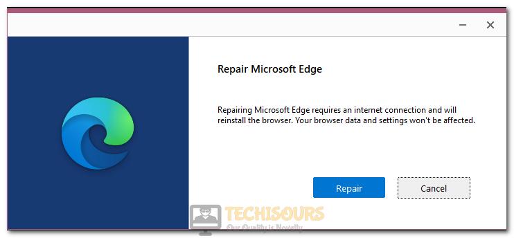 Repairing Microsoft Edge to fix State Repository Service High CPU Usage